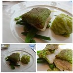 36918841 - パセリのクルートをまとった白身魚 ピストゥーレモンのピューレ 春野菜のエチュ べを添えて