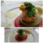 36918856 - グリーンアスパラとタスマニアサーモンのムース トマトとセロリのクーリー