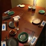 燦坐 - 自転車友達と晩ご飯=3=3=3 初めは生ビールで乾杯〜( ^ ^ )/□ ドリンクリストは無いのだけど(多分)、生ビールやワインの他に日本酒や焼酎もあるみたいで皆さん好きなものを頼んでました(^^ゞ