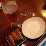 燦坐 - 初めは生ビールで乾杯〜( ^ ^ )/□ お通しは白身魚のカレー風味揚げ☆彡 食欲そそられます(^^♪