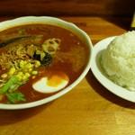 万屋マイキー  - チキギュー大辛スープ倍盛りご飯大盛り