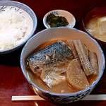 山根 - お食事処 山根 @中板橋 煮魚定食(鯖味噌煮) 650円(税込) ご飯は半分にしてもらいました