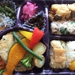 おこわ米八 - 料理写真:柚子あん豆腐ハンバーグと桜おこわは美味しい〜ごちそうさま!