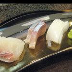 すし処 博多 玄海 - 玄海セット(刺身3種:鯛・間八・槍烏賊)(2010.4.16)