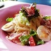 ロートス - 料理写真:パルマ産生ハムとゆで卵の冷製パスタ(¥1,200)