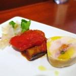 カロッツァ - 前菜3種盛り  カポナータ  ヒラメのカルパッチョ  鶏のインボルティーニ