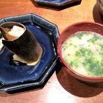 柳町 一刻堂 - 竹の子ご飯と魚のあら汁です。