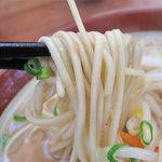 一楽ラーメン - 麺はラーメンと違う中太麺です。カタで頼んだら、ちょいゴッチン過ぎましたσ(^◇^;)