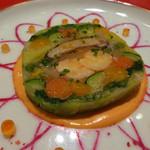 モナリザ - 2015年3月 春野菜とオマール海老の温かいテリーヌ仕立て。赤パプリカソース