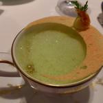 モナリザ - 2015年3月 桜海老のビスクとタケノコのプリン。クレソンと緑茶のカプチーノ