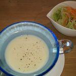 エポケカフェ - ランチセットはスープとサラダ付き