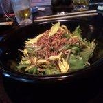 炭焼家 酉文 - 水菜のカリカリじゃこサラダ