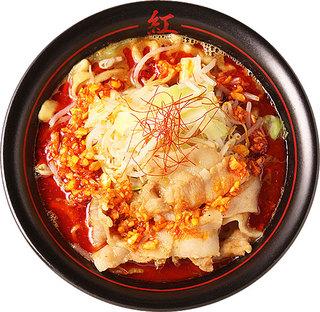 麺創研 紅 国分寺 - こちらが標準(デフォルト)のラーメンになります。 辛さの中に十分な旨さを感じられる人気No.1メニュー!