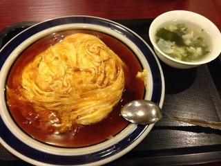 杏花村 - 天津飯500円税込 スープ付き