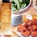 双龍園 - ビールはサッポロ、前菜と唐揚げ