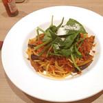 不二家レストラン - 茄子とサラダホーレン草のスパゲッティボロネーゼ