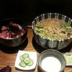 37082058 - 日替りセット→鮪の山掛け丼とタヌキ蕎麦