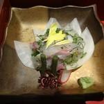 釜の座 - 桜鯛の細造り