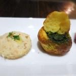 クレモンティーヌ・ビス - スモークサーモンとジャガイモのカナッペ  エスカルゴのブルゴーニュ風