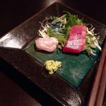 キレイになるための食卓 - 刺身盛り3種:写真撮る前にかんぱち食べちゃいました(^^; (2015.04.18)