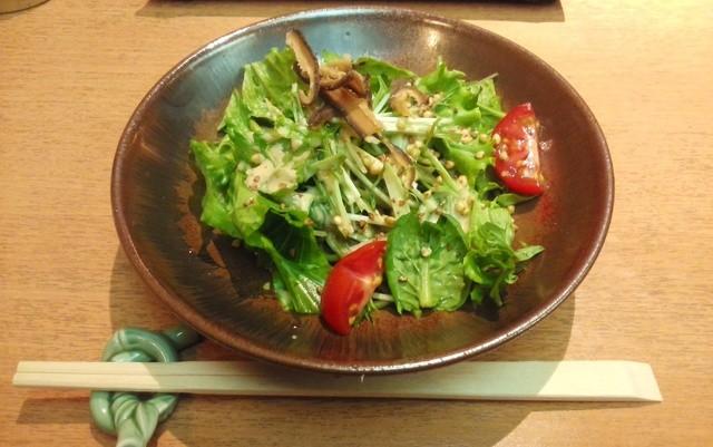 やす竹 - 「おもてなし膳」のそばサラダアップ  H27.4.19撮影