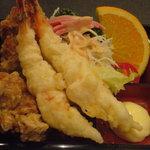 迎日楽 - 鶏の唐揚げ&車エビの天ぷら ※A定食より