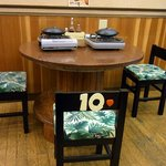 陶板焼 一宮 - テーブルはよく見てもらうと分かるのですが工事用の資材を再利用しているんですよ。ここの店主さんの手作りだそうです。