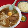 来山閣 - 料理写真:餃子入り味噌ラーメン550円、ライス150円(^^)