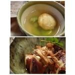 37180607 - ◆お通しの「里芋饅頭」・・汁は福岡らしく少し甘めです。丁寧に裏ごしされた里芋で作られた饅頭は美味しいですよ。                       下:大皿でも盛られていた「子持ち烏賊(お値段不明)」見た目よりは薄味ですね。普通に美味しい