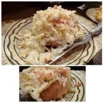 37180610 - ◆カウンターに置かれていた「毛蟹(4320円)」・・お忙しい中、身をほぐしてくださいましたm(__)m                       まだ旬ではないので身が少なめですが、甘くて美味しいですよ。