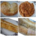 ル・パン・リュストー - ◆上左:アーモンドシュガー(160円)・・アーモンドタップリの甘めのパン。 プルミエ風ですが、サクサク感には欠けます。 上右:シナモンシュガー(180円)・・シナモンタップリ下:ガーリックフランス。