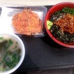 浜のかきあげや - 漬けどんセット(漁師の沖漬け丼、かき揚げ、桜えびのみそ汁)(2015.4)