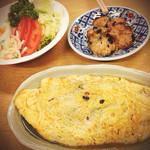 今井食堂 - オムレツと茄子のお浸し、マカロニサラダ。