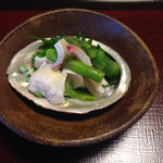 山茶花 - 貝とアスパラ