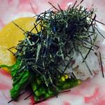 炭鮮 - 生シラスのせ菜の花からし和え