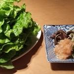 37196924 - チシャ菜とナムル盛り