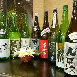 日本酒は120品揃え!お猪口によっても味を変えます
