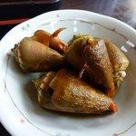 奥武島海産物食堂 - 定食の小鉢。コマガイの煮貝のアップ。