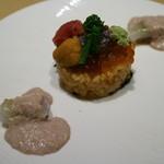 銀座あんどう - 雲丹とトビコの御飯とカワハギの身と肝