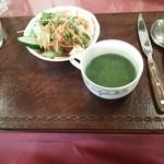 37215540 - ランチのサラダ&スープ