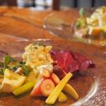 カンテラ - 前菜(真鯛のカルパッチョ、アイオリポテト、たことセロリのマリネ)