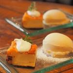 カンテラ - チーズケーキ、アイスクリームの盛り合わせ