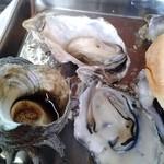 かき焼き 塩見園 - 牡蠣!これでも中サイズです。