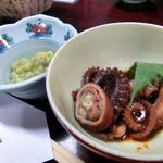 Kyoudoryouritakenoko - 飯蛸の煮つけ柚子ポン酢、竹の子の木の芽和え