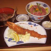 花いち - 中おち丼とジャンボ海老フライ 潮汁付 \1,500