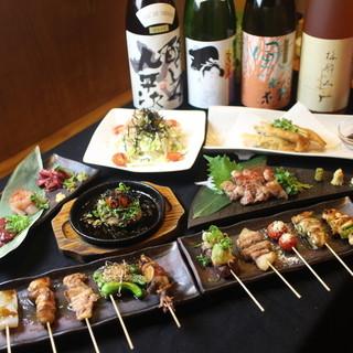 2時間飲み放題付きのコースが3500円で楽しめる串焼き店