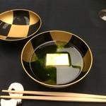花蝶 - 椀物       玉子豆腐 生海苔のすまし椀