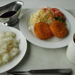 スカイレストラン グリーンズカフェ - かにとホタテのクリームコロッケセット