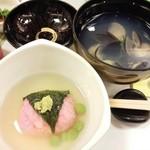 魚処丸萬 - 宴会会席3(吸物と餅米で魚包み)
