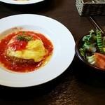 Hidamari - オムライスランチセット①トマトソース&サラダ ¥1,180(税込)